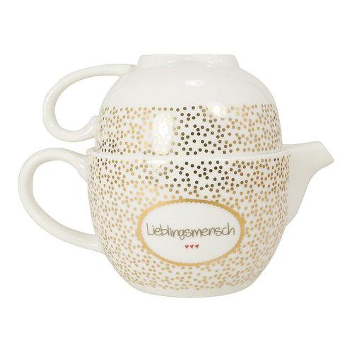 """Teekanne und Tasse mit Golddruck """"Lieblingsmensch"""""""