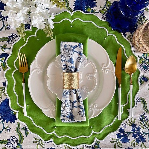 Set of 4 'High Tea' Placemat and Napkin Set - Green -Round