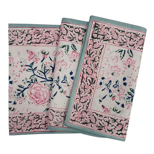 Hand Block Printed Table Runner 33cm x 170cm 'Naya Gulab Open'