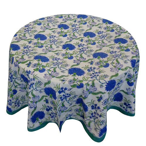 Block Printed Tablecloth 'Flower Blossom Sea Green' *Round & Rectangle