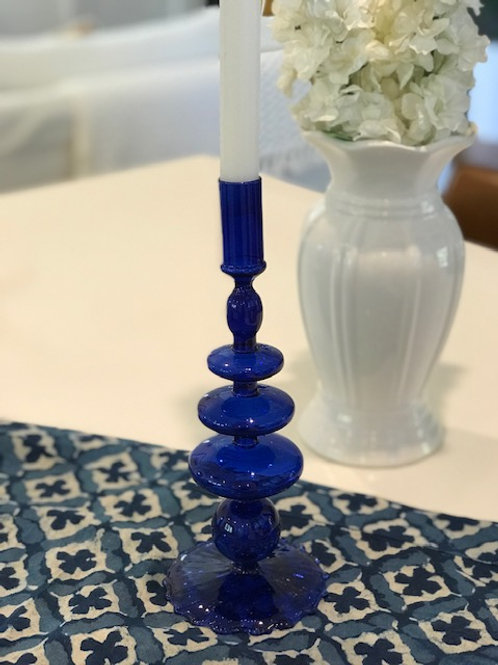 Glass Candle Holder -Blue