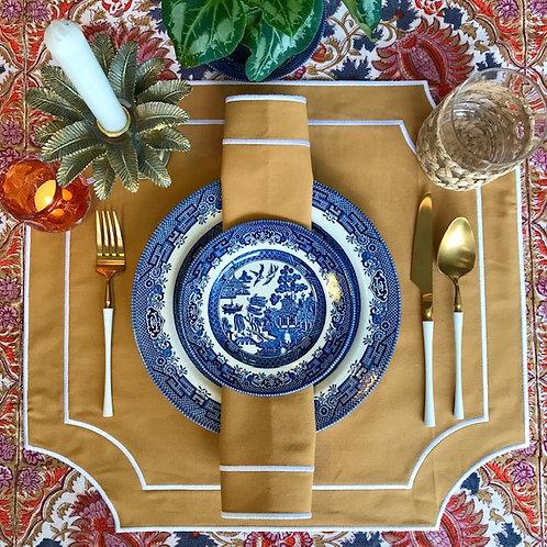 Set of 4 'High Tea' Placemat and Napkin Set - TAN