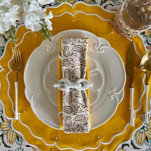 Set of 4 'High Tea' Placemat and Napkin Set - Yellow -Round