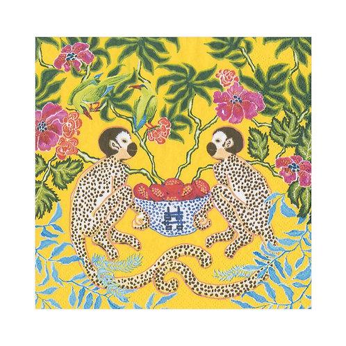Caspari Paper Napkins - Monkeys Yellow - Luncheon Size 20 per pack