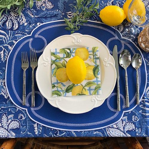 """Algarve Range Placemat - Royal Blue/White """"Argolas"""""""