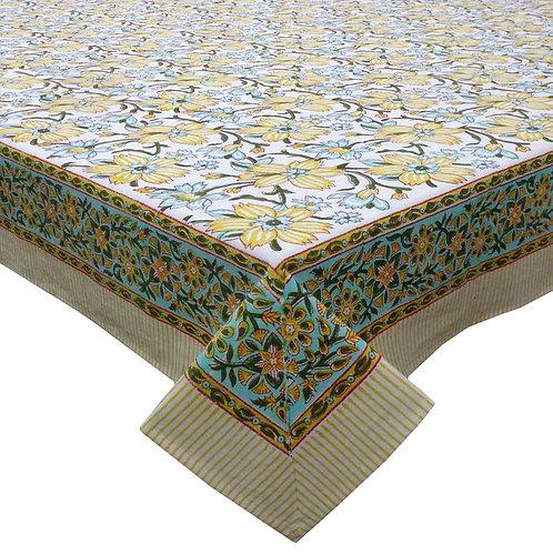 Floral Block Printed Tablecloth 'Champa Kali' *Rectangle