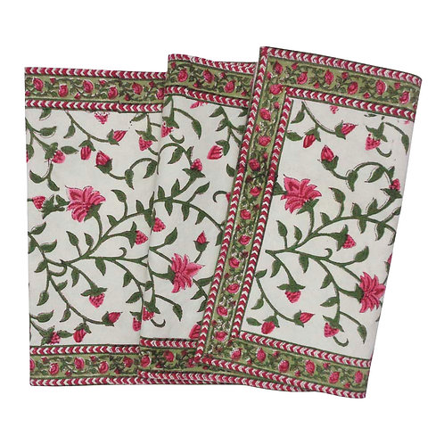 Hand Block Printed Table Runner 33cm x 170cm 'Floral Bale Pink'
