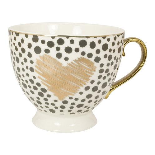 """Tasse mit Golddruck und Goldhenkel im Geschenkekarton """"Herz"""""""