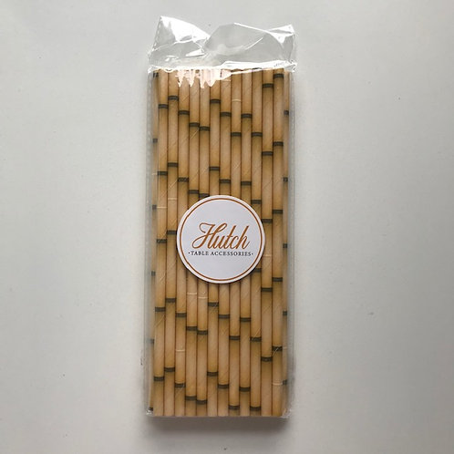 "Paper ""Bamboo"" print straws - Pack of 25 straws Colour: Natural"