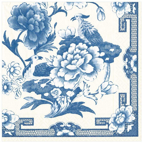 Caspari Paper Napkins - Blue and White - Luncheon Size 20 Pa