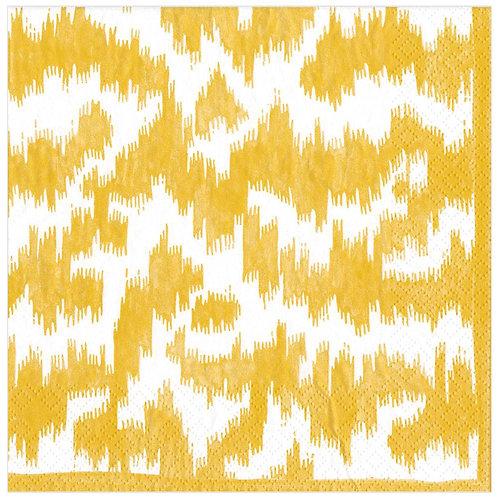 Caspari Paper Napkins - Modern Moire Yellow - Luncheon Size 20 per pack