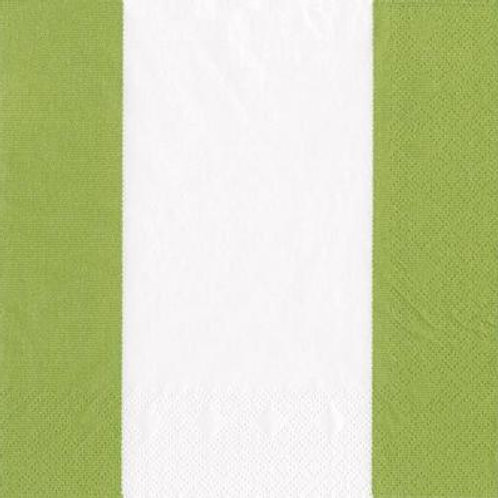 Caspari Paper Napkins - Bandol Stripe Moss Green - Luncheon Size 20 Pack