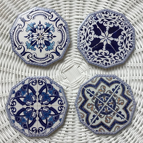 Ceramic Coasters - 'Hamptons' - Set of 4