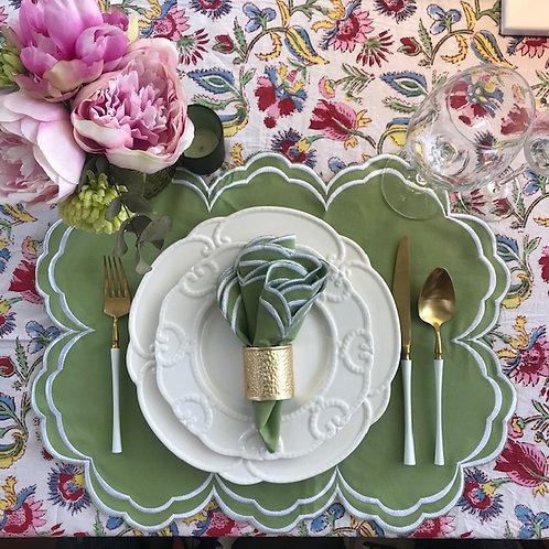 Set of 4 'High Tea' Placemat and Napkin Set - Green