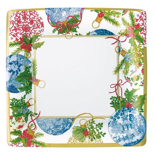 Caspari Paper Dinner Plates - 'Porcelain Ornaments'. Pack of 8