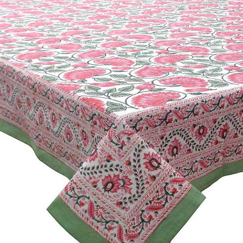 Block Printed Tablecloth 'Kamal Gulabi Open' *Rectangle *Round