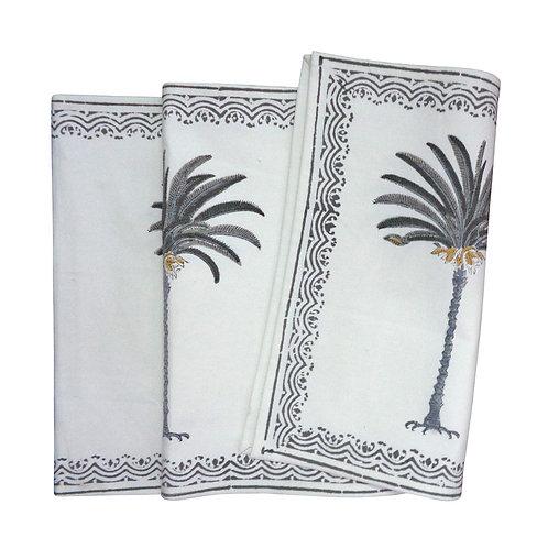 Hand Block Printed Grey Palm Tree Table Runner