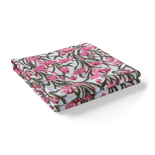 Hand Block Printed - Floral Pink and Green  *Rectangle *Square