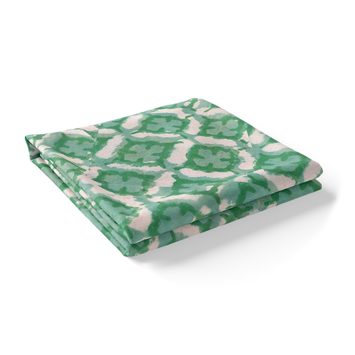 """Hand Block Printed Tablecloth """"Green Morocco""""  *Rectangle"""