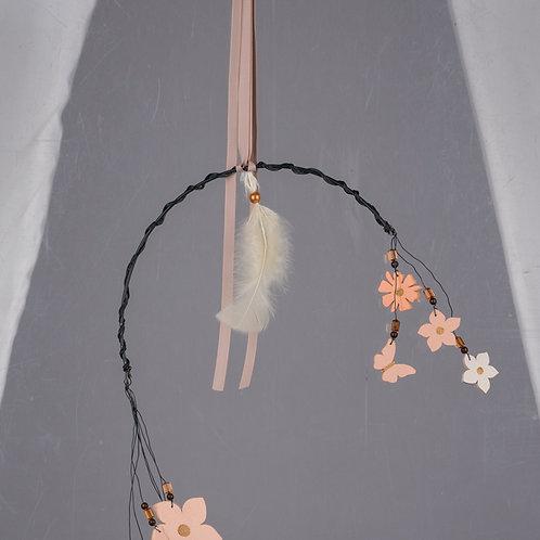 Hänger Halbrunder Metallring 'Schmetterlingen und Blüten aus Holz'
