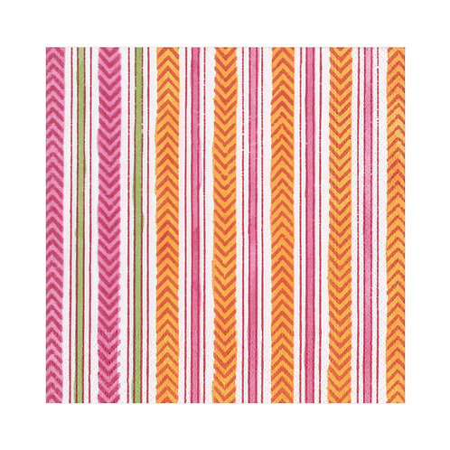 Caspari Paper Napkins - Carmen Stripe  Fuchsia - Luncheon Size 20 per pack