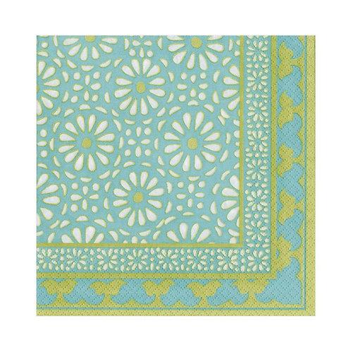 Caspari Paper Napkins - Alhambra Teal - Luncheon Size 20 per pack