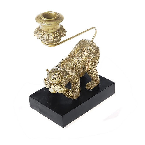 Cheeky Monkey Candle Holder - Gold Colour