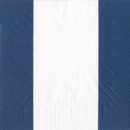 Caspari Paper Napkins - Bandol Stripe Navy - Luncheon Size 20 Pack