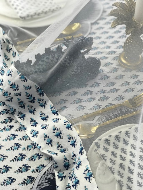 """Hand Block Printed Border - Net Cover """"Truly Blue"""""""