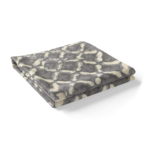 "Hand Block Printed Tablecloth ""Grey Morocco""  *Rectangle"