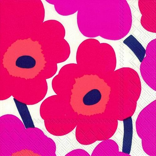 Marimekko Paper Napkins - Unikko Red- Luncheon Size 20 Pack