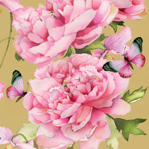 Paper Napkins - Peonies & Butterflies - Luncheon Size 20 Pack