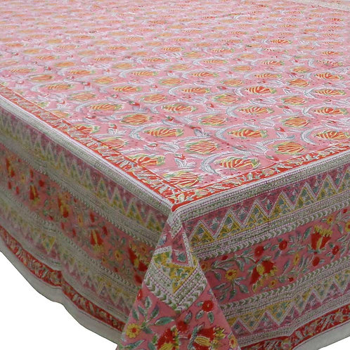 Extra Large Block Printed Tablecloth 'Frost Pink Floral Gud'  *Rectangle