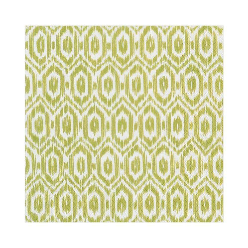 Caspari Paper Napkins - Amala Ikat - Green - Luncheon Size 20 per pack