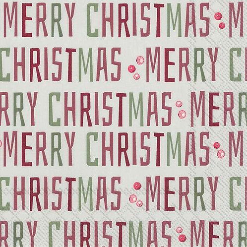 "Lunch Servietten ""Winter Merry Christmas"" - Weiß"