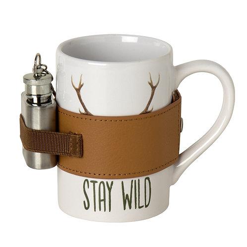 "Keramikbecher mit Mini-Flachmann ""Stay Wild"""