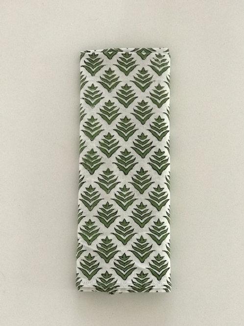 Set of 6 Hand Block Printed - Green Fern Cloth Napkin