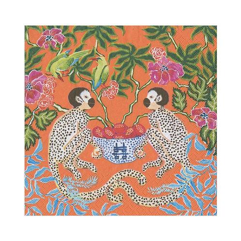 Caspari Paper Napkins - Monkeys Orange - Luncheon Size 20 per pack