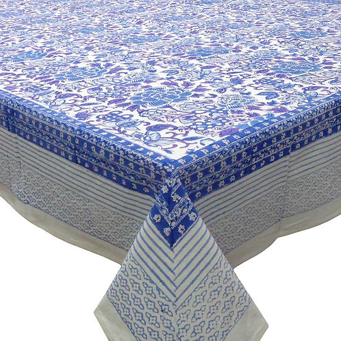 Block Printed Tablecloth 'Floral Canvas Blue & White' *Rectangle