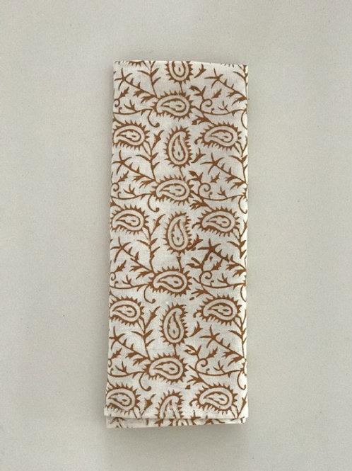 Set of 6 Hand Block Printed - Tan Paisley Cloth Napkin