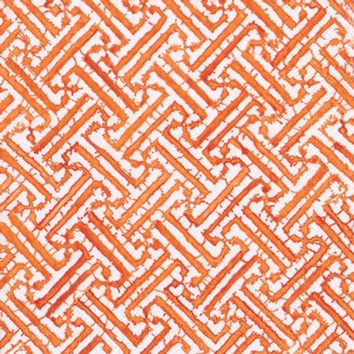 Caspari Paper Napkins - Fretwork - Orange - Luncheon Size 20 Pack