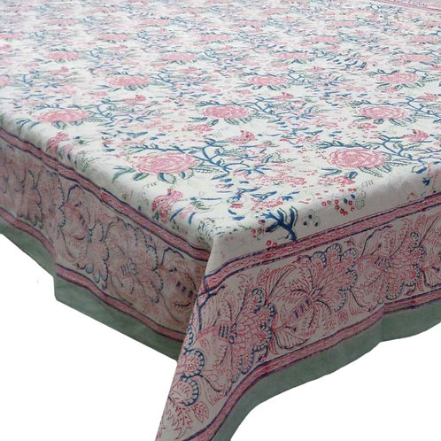 Block Printed Tablecloth 'Naya Gulab Open' *Rectangle