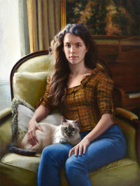 """Meg and Mochi Private Collection 40x30""""  Oil on linen"""