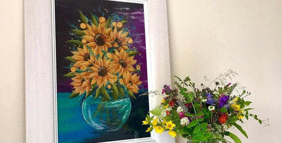 Sunflowers - Professionally Framed Original Artwork