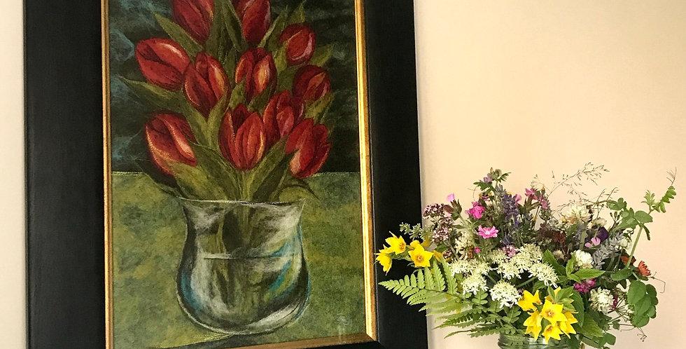 Red Tulips - Professionally Framed Original Artwork