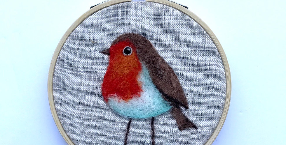 Needle felt a robin - kit with PDF instructions or kit with workshop