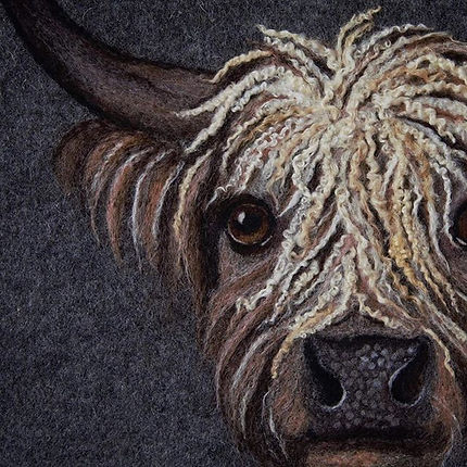 Curly Coo. The finished felt painting fr