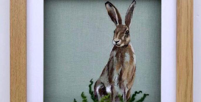Hare. Framed original felt painting