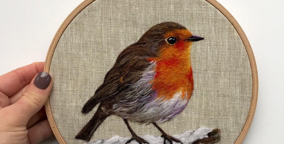 Needle felted robin - original artwork