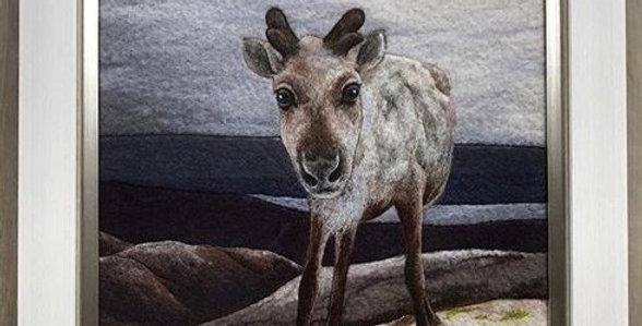 Needle Felted Reindeer - Professionally Framed Original Painting
